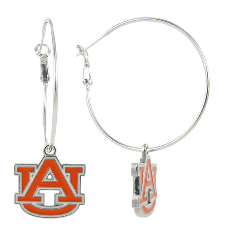 Orange and White Auburn AU Hoop Earrings