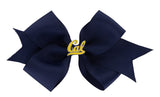 Gold Enamel Cal Medium Navy Ribbon Bow Alligator Clip