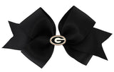 Red Outline Enamel Georgia G Logo Medium Black Ribbon Bow Alligator Clip