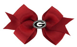 Black Outline Enamel Georgia G Logo Small Red Ribbon Bow Alligator Clip