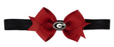 Black Outline Enamel Georgia G Logo Small Red Ribbon Bow with Black Elastic Hairband