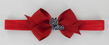 Navy Enamel Ole Miss Logo Small Red Ribbon Bow Elastic Hairband