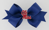 Red Enamel Ole Miss Logo Small Navy Ribbon Bow Alligator Clip