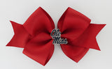 Navy Enamel Ole Miss Logo Medium Red Ribbon Bow Alligator Clip