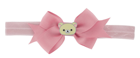 Korilakkuma Ribbon Bow Elastic Hairband - Pink