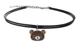Pave Rilakkuma Double Faux Leather Choker Necklace