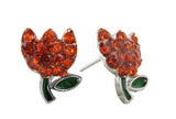 Spring's Mini Tulip Stud Earrings - Orange
