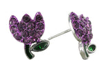 Spring's Mini Tulip Stud Earrings - Purple