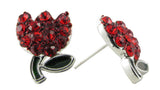 Spring's Mini Tulip Stud Earrings - Red
