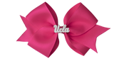 White and Pink UCLA Medium Hot Pink Ribbon Bow Alligator Clip