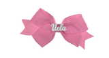 White and Pink UCLA Small Light Pink Ribbon Bow Alligator Clip