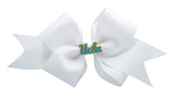 Blue and Yellow UCLA Medium White Ribbon Bow Alligator Clip