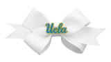 Blue and Yellow UCLA Small White Ribbon Bow Alligator Clip