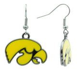 Yellow Enamel Iowa Hawkeyes Fish Hook Earrings