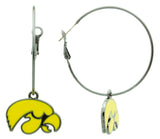 Yellow Enamel Iowa Hawkeyes Hoop Earrings