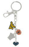 Gold WVU Basketball Combo Key Chain with Navy Heart