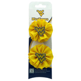 Pair of Mini Flying WV Gold Round Ruffle Ribbon Hair Clip
