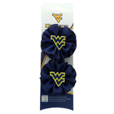 Pair of Mini Flying WV Navy Round Ruffle Ribbon Hair Clip