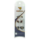WVU Football 3 Pair Stud Earring Value Pack - Brown