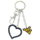 WVU Love Keychain with Navy Heart