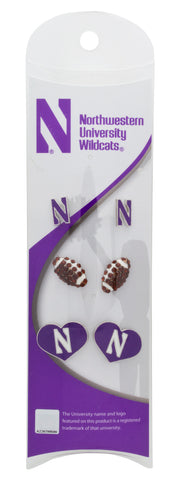 Northwestern Football 3 Pair Stud Earring Value Pack - Brown