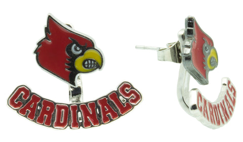 Red Louisville CARDINALS Ear Jacket and Stud Set