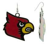 XXL Red Black and Yellow Enamel Louisville Cardinals Game Day Fish Hook Earrings