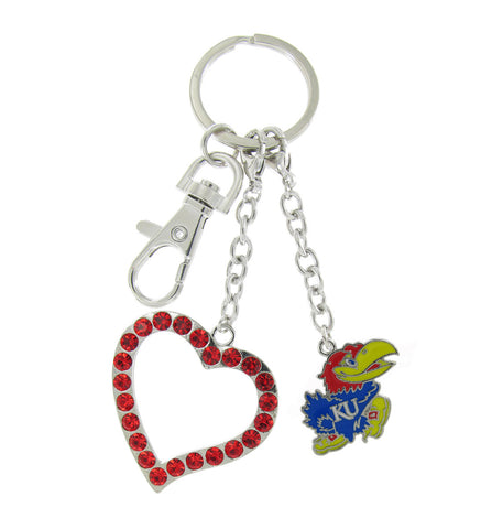 Kansas Jayhawks Love Key Chain with Red Heart