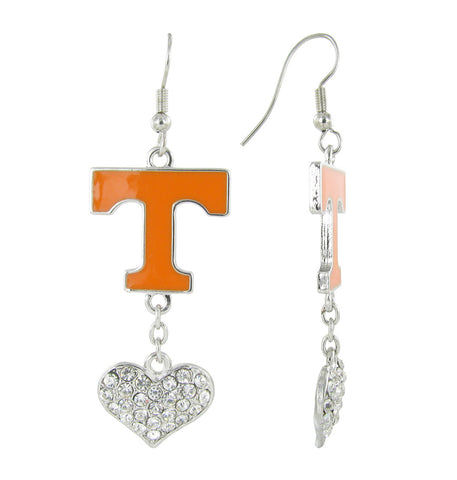 Tennessee Love Fish Hook Earrings with Clear Hearts