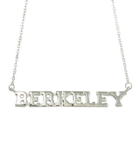 Metallic Berkeley Block Letter Pendant Necklace