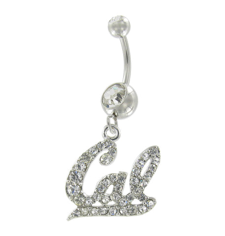 Clear Crystal Cal Script Logo Navel Belly Ring