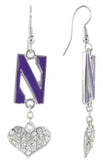 Northwestern U Love Fish Hook Earrings with Clear Hearts