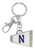 Northwestern Cheer Megaphone Charm Key Chain