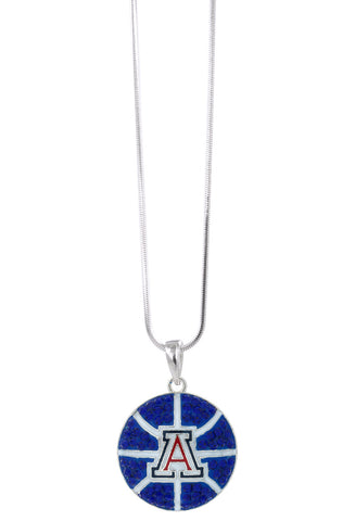 Arizona Crystal Basketball Pendant Necklace - Royal Blue