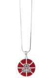 Arizona Crystal Basketball Pendant Necklace - Red