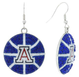 Arizona Crystal Basketball Fish Hook Earrings - Royal Blue