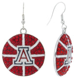 Arizona Crystal Basketball Fish Hook Earrings - Red