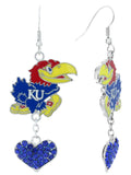 Kansas Jayhawks Love Fish Hook Earrings with Royal Blue Hearts