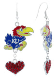 Kansas Jayhawks Love Fish Hook Earrings with Red Hearts