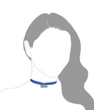 Blue and Gold Enamel UCLA Blue Grosgrain Ribbon Choker Necklace