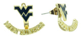 Navy WVU MOUNTAINEERS Ear Jacket and Stud Set
