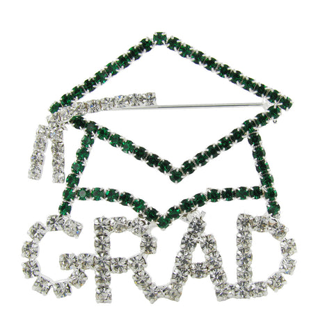 Grad Cap Brooch Pin with Dark Green and Clear Crystals
