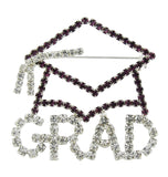 Grad Cap Brooch Pin with Purple and Clear Crystals