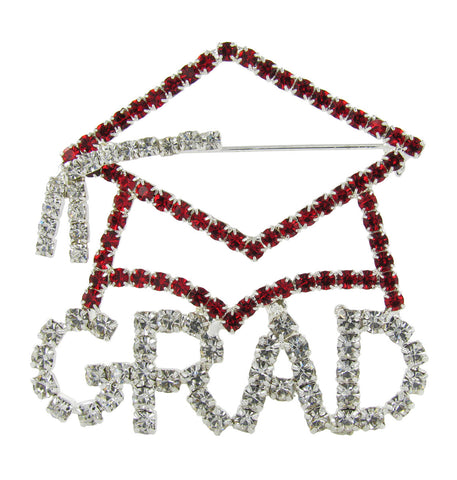 Grad Cap Brooch Pin with Red and Clear Crystals