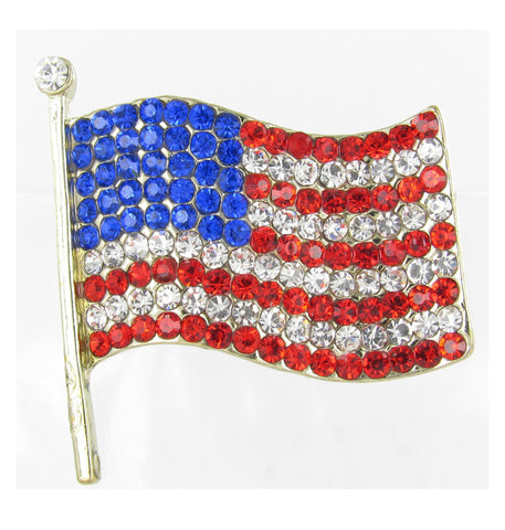 Large American Flag Brooch Pin - Gold