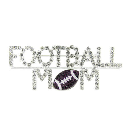Football Mom Brooch Pin with Purple Crystals