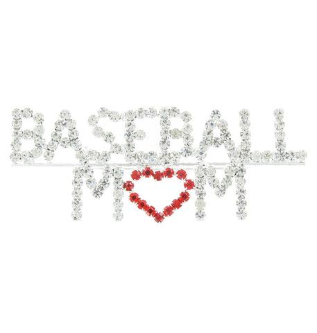 Baseball Mom Heart Brooch Pin