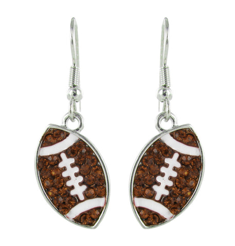 Flat Football Fish Hook Earrings