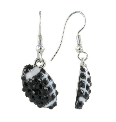 Mini Pave Football Fish Hook Earrings