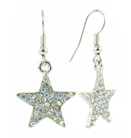 Crystal Star Fish Hook Earrings - Aurore Boreale